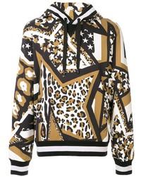 mehrfarbiger bedruckter Pullover mit einem Kapuze von Dolce & Gabbana