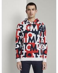 mehrfarbiger bedruckter Pullover mit einem Kapuze von Tom Tailor