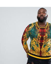 mehrfarbiger bedruckter Pullover mit einem Rundhalsausschnitt von ASOS DESIGN