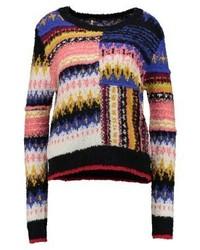 mehrfarbiger bedruckter Pullover mit einem Rundhalsausschnitt von Free People