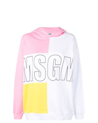 mehrfarbiger bedruckter Pullover mit einer Kapuze von MSGM