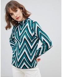 mehrfarbiger Pullover mit einem Rundhalsausschnitt mit Chevron-Muster von Vero Moda