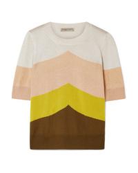 mehrfarbiger horizontal gestreifter Kurzarmpullover von Bottega Veneta