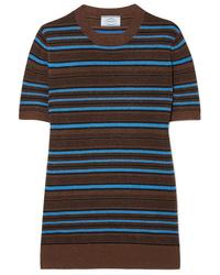 mehrfarbiger horizontal gestreifter Kurzarmpullover von Prada