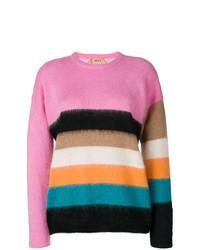 mehrfarbiger horizontal gestreifter Mohair Pullover mit einem Rundhalsausschnitt