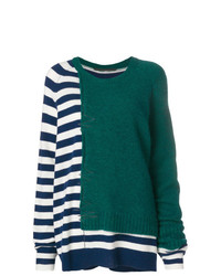 mehrfarbiger horizontal gestreifter Oversize Pullover von Haider Ackermann