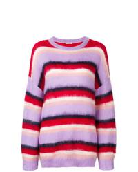 mehrfarbiger horizontal gestreifter Oversize Pullover von Miu Miu