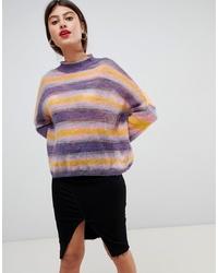 mehrfarbiger horizontal gestreifter Oversize Pullover von Vila