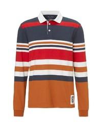 mehrfarbiger horizontal gestreifter Polo Pullover von Marc O'Polo