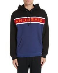 mehrfarbiger horizontal gestreifter Pullover mit einem Kapuze