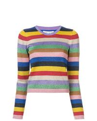 mehrfarbiger horizontal gestreifter Pullover mit einem Rundhalsausschnitt von Alice + Olivia