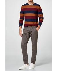 mehrfarbiger horizontal gestreifter Pullover mit einem Rundhalsausschnitt von edc by Esprit