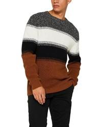 mehrfarbiger horizontal gestreifter Pullover mit einem Rundhalsausschnitt von Esprit
