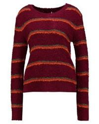 mehrfarbiger horizontal gestreifter Pullover mit einem Rundhalsausschnitt von Free People