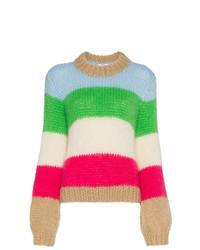 mehrfarbiger horizontal gestreifter Pullover mit einem Rundhalsausschnitt von Ganni