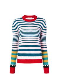 mehrfarbiger horizontal gestreifter Pullover mit einem Rundhalsausschnitt von La Doublej