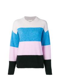 mehrfarbiger horizontal gestreifter Pullover mit einem Rundhalsausschnitt von Laneus