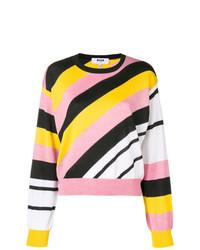mehrfarbiger horizontal gestreifter Pullover mit einem Rundhalsausschnitt von MSGM
