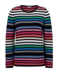 mehrfarbiger horizontal gestreifter Pullover mit einem Rundhalsausschnitt von RABE