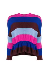 mehrfarbiger horizontal gestreifter Pullover mit einem Rundhalsausschnitt von RED Valentino
