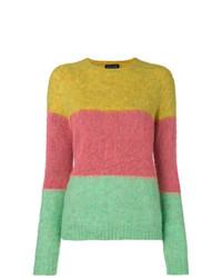 mehrfarbiger horizontal gestreifter Pullover mit einem Rundhalsausschnitt von Roberto Collina