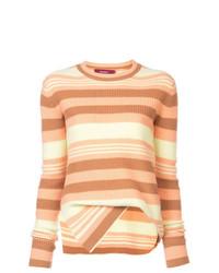 mehrfarbiger horizontal gestreifter Pullover mit einem Rundhalsausschnitt von Sies Marjan