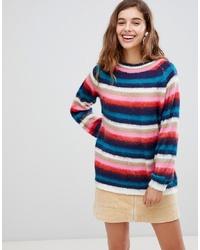 mehrfarbiger horizontal gestreifter Pullover mit einem Rundhalsausschnitt von Willow and Paige
