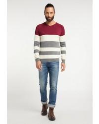 mehrfarbiger horizontal gestreifter Pullover mit einem V-Ausschnitt von Dreimaster