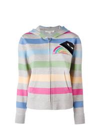 mehrfarbiger horizontal gestreifter Pullover mit einer Kapuze von Marc Jacobs