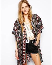 mehrfarbiger Kimono mit geometrischen Mustern