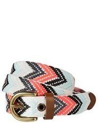 mehrfarbiger Ledergürtel mit geometrischen Mustern
