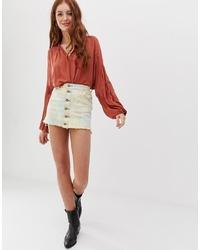 mehrfarbiger Mit Batikmuster Jeans Minirock von Glamorous