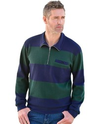 mehrfarbiger Pullover mit einem Reißverschluss am Kragen von CATAMARAN