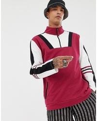 mehrfarbiger Pullover mit einem Reißverschluss am Kragen von Sacred Hawk