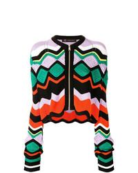 mehrfarbiger Pullover mit einem Reißverschluß von Versace