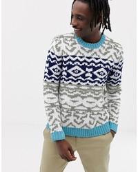 mehrfarbiger Pullover mit einem Rundhalsausschnitt mit Fair Isle-Muster
