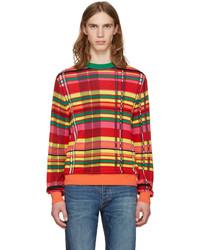 mehrfarbiger Pullover mit einem Rundhalsausschnitt mit Schottenmuster