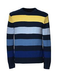 mehrfarbiger Pullover mit einem Rundhalsausschnitt