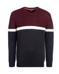 mehrfarbiger Pullover mit einem Rundhalsausschnitt von Bexleys man