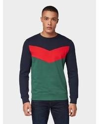 mehrfarbiger Pullover mit einem Rundhalsausschnitt von Tom Tailor Denim