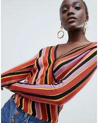 mehrfarbiger Pullover mit einem V-Ausschnitt von ASOS DESIGN