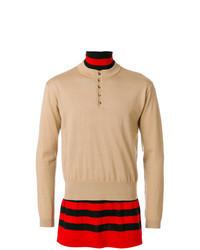 mehrfarbiger Pullover mit einem zugeknöpften Kragen