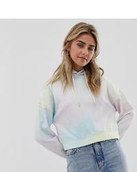 mehrfarbiger Pullover mit einer Kapuze mit Batikmuster