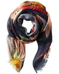 mehrfarbiger Schal mit Blumenmuster