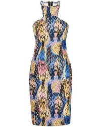mehrfarbiges bedrucktes figurbetontes Kleid