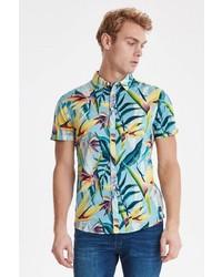mehrfarbiges bedrucktes Kurzarmhemd von BLEND
