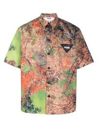 mehrfarbiges bedrucktes Kurzarmhemd von MSGM