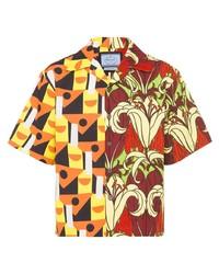 mehrfarbiges bedrucktes Kurzarmhemd von Prada