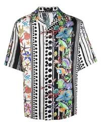 mehrfarbiges bedrucktes Kurzarmhemd von Versace