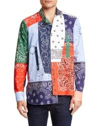 mehrfarbiges bedrucktes Langarmhemd